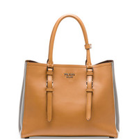 Prada City Calfskin Bicolor Tote Bag, Camel/Dark Gray (Canella + Marmo)