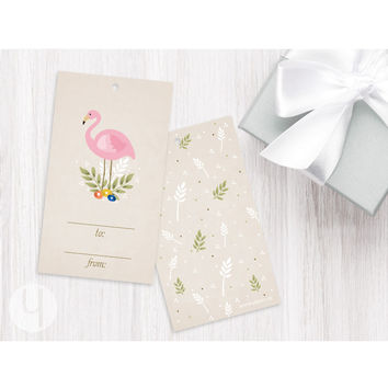 Pink Flamingo Gift Tags (Set of 12)
