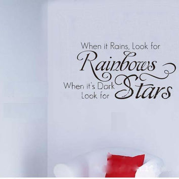 Rainbow Stars Letter Elegant Room Decals Decor Mural Vinyl Wall Sticker SM6