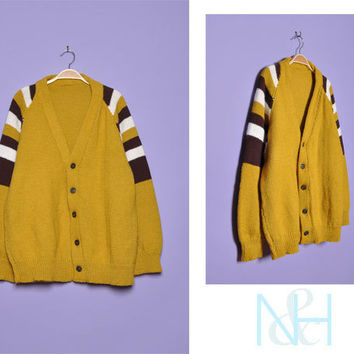 Vintage 1960s Retro Mustard Cardigan with Unisex Fit
