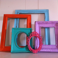 Vintage Frame Set, Funky Home Decor, Gallery Wall Frames, Jack and Jill, Bright Frames, Upcycled