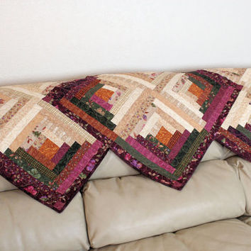 Log Cabin Table Runner in Earthtone colors of Purples & Tans from Acorn Hollow Fabrics