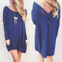 Stylish Scoop Neck Long Sleeve Solid Color Loose-Fitting Women's Dress