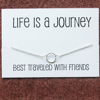 Circle of Friends and Family Pendant Silver Toned Chain Woman Fashion Necklace