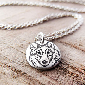 Wolf necklace  silver eco friendly wolf pendant by lulubugjewelry