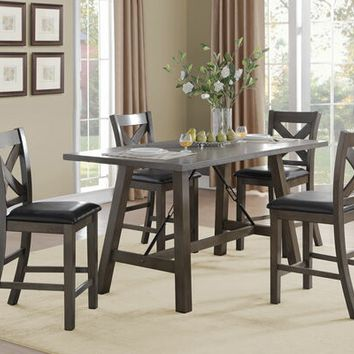 5 pc Seaford collection grey finish wood trestle base counter height dining table set