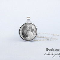 Handmade Full Moon Pendant Silver Necklace Moon Jewelry Birthday Gift Round Glass