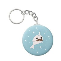 Kawaii Narwhal with Mustache Keychains from Zazzle.com