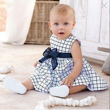 Newborn Baby Toddler Girls Summer Cute Cotton Blue Plaid Bow-knot Strap Sleeveless Dress Outfit Clothes Dresses 6-24M