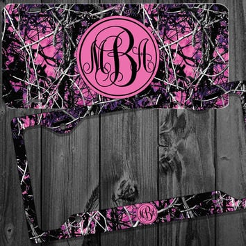 Purple Pink Camo Muddy Mardi Monogram License Plate Frame Holder Metal Wall Sign Tags Personalized Custom Vanity Country Girl