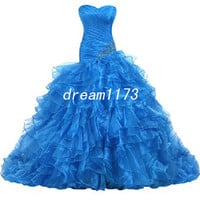 Organza Evening Dress Strapless Prom Ball Gown With Beads Lace-up Back Ruffles Ball Gown Blue Cocktail Dress Custom by Order