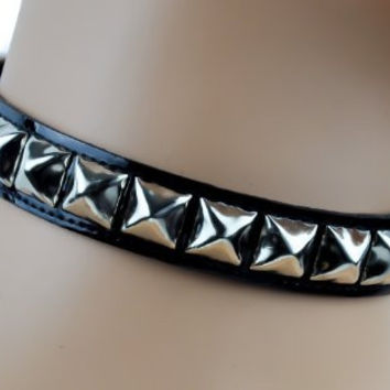 Black Patent PVC Leather Pyramid Stud Choker Necklace