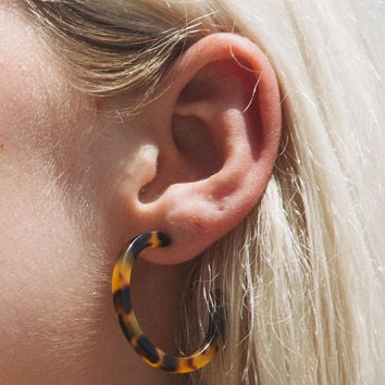 Tortoise Shell Hoop Earrings - Earrings - Jewellery - Accessories