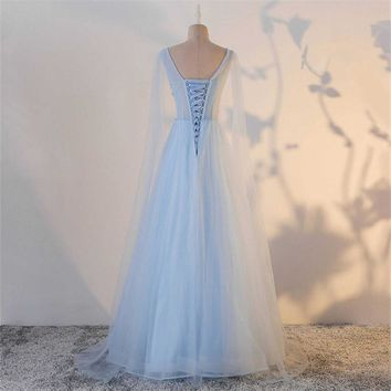 Shawl Blue Backless Tulle Appliques Sleeveless A-line Party Formal Dress Floor Length Evening Dresses