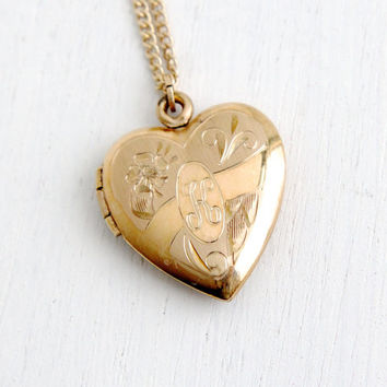 Vintage 12K Gold Filled Floral Heart Locket Necklace - 1940s WWII Era Sweetheart Flower Jewelry Monogrammed K