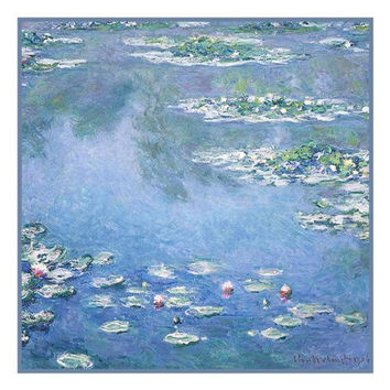 Water Lilies in Blues inspired by Claude Monet's impressionist painting Counted Cross Stitch or Counted Needlepoint Pattern