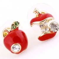 DaisyJewel Asymmetrical Once Upon a Time Snow White & the Evil Queen Red Poison Apple Stud Earrings with Gold Trim and Sparkly Green & White Diamond Like Crystal Elements - Skin-Safe & For Pierced Ears - Top Seller Mega Clearance Sale:Amazon:Jewelry