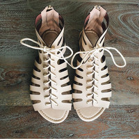 Laceup Sandals in Nude