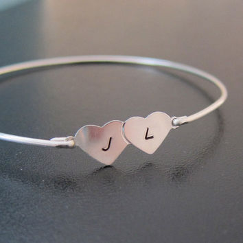 Two Hearts Bracelet, Personalized Wedding Gift for Bride, Anniversary Gift for Wife, 2 Initials, Wife, Gift for Her, Two Hearts Jewelry