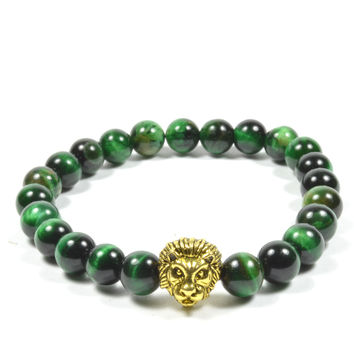 8 mm Green Tiger Eye with Golden Lion