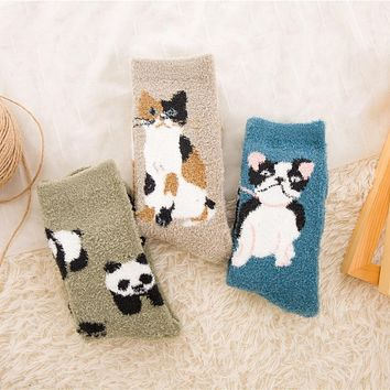PEONFLY women cotton Embroidery CAT Dog Panda Animal Thickening Keep Warm Sleep funny cute Socks hosiery 3pairs/lot