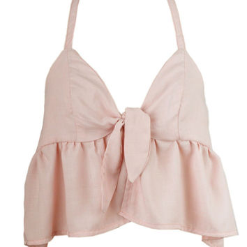Pink Ruffled Halter Tie Cami Crop Top