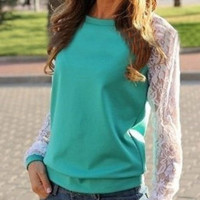 WHITE LACE SLEEVE SWEATSHIRT (TURQUOISE)