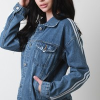 Striped Sleeves Vintage Denim Jacket