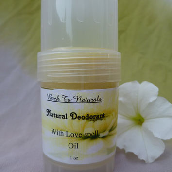 All natural deodorant - tea tree oil deodorant - handmade deodorant with coconut oil - deodorant with love spell essential oil
