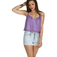 Sale-lavender Burnin It Down Crop Top