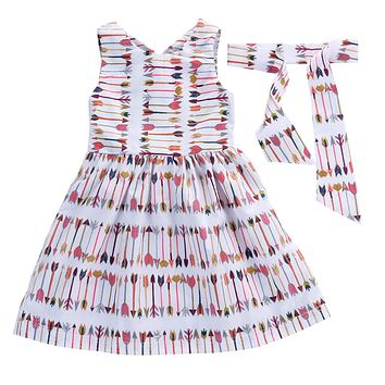 Summer Costume Fashion Kids Dress Sleeveless Print Baby Girl Dress Cotton Casual Dresses For Girls Children Colthes