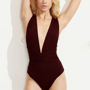 Multiway Cross Tie Back Plunging Bodysuit BURGUNDY