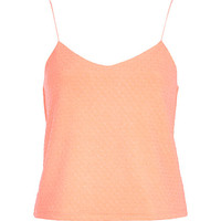 River Island Womens Coral textured shoestring cami top