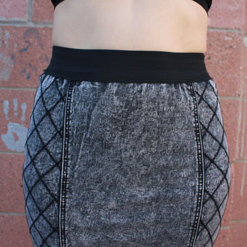Black Acid Washed Embroidered Denim Mini Skirt Size Small
