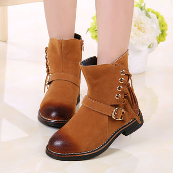 2016 Autumn Winter Baby Girls Winter Boots Female Children Tassel Fashion Leather Boots Outdoor Warm Kids High Snow Boots