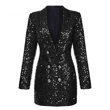 Holiday Slim Black Sequined Long Sleeve Double Breasted Blazer