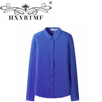 OL Style Large Size Women Chiffon Shirt Tops Loose Long-sleeved Shirts Female Stand Collar Blouses Undershirt Clothes 0920