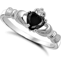Sterling Silver Onyx Black CZ Claddagh Ring Size 4-12