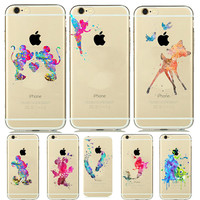 8 Designs Colorful Mickey Minnie Mouse Lover Couples Transparent Clear Soft Silicone Case for funda iPhone 5 5s 6 6S Vanlentine
