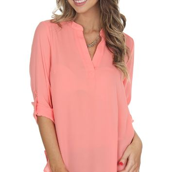 Classic V-Neck Blouse Coral