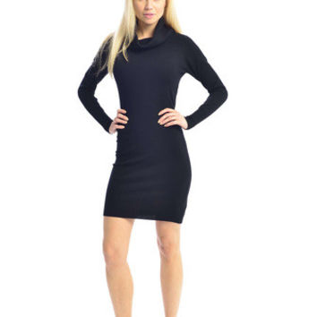 Cowl Neck Black Sweater Dress