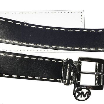 MICHAEL Michael Kors Women's 38mm Belt w/ Self Wrapped Buckle Black Belt MD