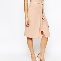 Closet Pencil Skirt with Tie Waist and center Split in Heavy Jersey at asos.com