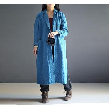 Spring Casual Long Turn Down Collar One Button Opening Women Cotton Linen Coat, High Quality Jacquard Lake Blue Black Trench