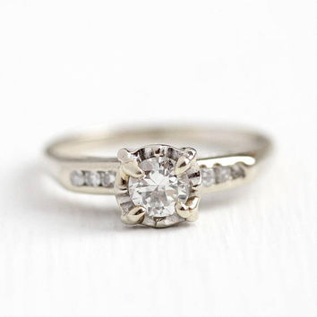 Vintage Diamond Ring - 14k White Gold .40 CTW Diamond Engagement - Retro  1950s Size 8f318f9c8c0d