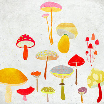 Octobre - Art - Print of an original illustration - Color Print - Drawing - Colorful Mushrooms - Children room wall decor