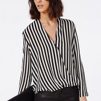 Missguided - Long Sleeve Wrap Front Stripe Blouse