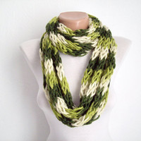 Finger Knitting Scarf Green Cream Multicolor  Necklace Colorful Variegated Long Winter Accessories