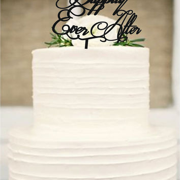 Happily ever after wedding cake topper - wedding decorations - cake decor - rustic wedding cake decor