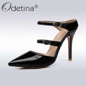 Odetina Patent Leather Pumps Women Super High Heels Shoes Pointed Toe Pumps Slip On Ladies Mules Big Size 47